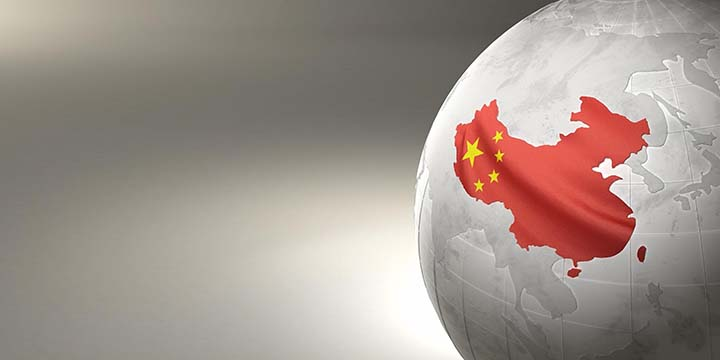 China highlighted on globe